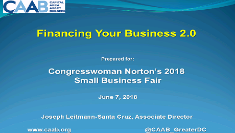 CAAB and WACIF Partner to Present at Congresswoman Norton's 2018 Small Business Fair on Sources of Funding for Your Small Business