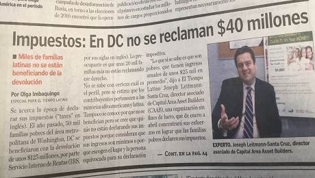 CAAB Interviewed by El Tiempo Latino to Raise EITC Awareness in the DC Latinx Community