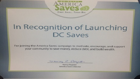 CAAB is Recognized by America Saves for Launching the DC Saves Campaign