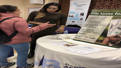 CAAB Participates in Washington English Center's Community Services and Health Fair in Ward 2 to Raise Awareness of the EITC