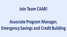 CAAB Seeks an Associate Program Manager, Emergency Savings and Credit Building