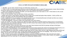CFA's 12 Tips to Save Energy Dollar