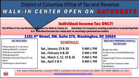 DC Office of Tax and Revenue will be Open on Saturdays during the 2016 Tax Season