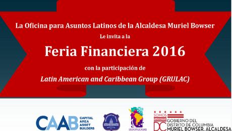 Feria Financiera 2016 en Washington, DC el Sábado 14 de Mayo