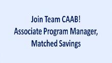 CAAB Seeks an Associate Program Manager, Matched Savings